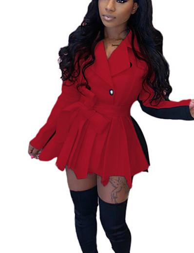 preiswerte Damenmäntel und Trenchcoats-Damen Doppelreihiger Verschluss Mantel Standard Solide Alltag Grundlegend Weiß Blau Rote Wein S M L XL / Schlank