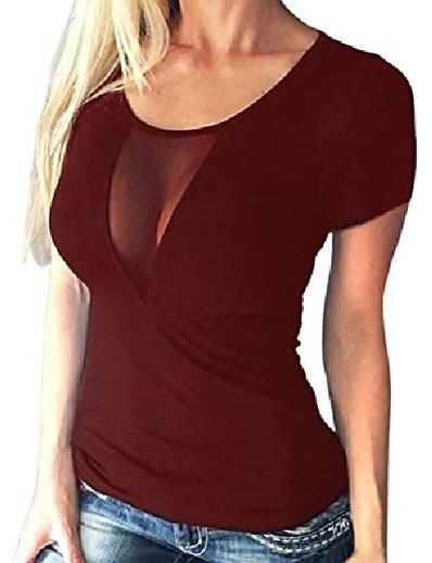 abordables NOUVELLE DANS-femmes tops sexy pure voir à travers t-shirts col rond à manches courtes chemisier slim fit t-shirt en maille pour la fête clubwear vin rouge