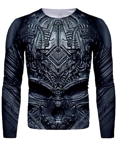 cheap Men's 3D-Men's T shirt 3D Print Graphic 3D Skull Print Long Sleeve Halloween Tops Basic Black