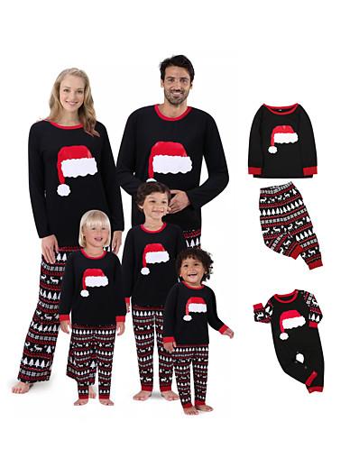 cheap Family Matching Pajamas Sets-2 Piece Family Look Santa Claus Graphic Print Long Sleeve Regular Clothing Set Black