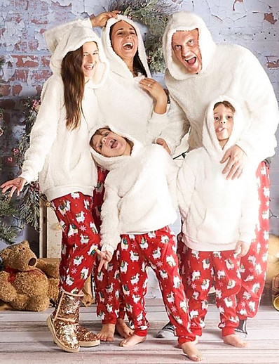 cheap Family Matching Pajamas Sets-2 Piece Family Look Santa Claus Animal Print Long Sleeve Regular Clothing Set White