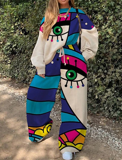 cheap JUMPSUITS & ROMPERS-Women's Color Block Two Piece Set Sweatshirt Pant Loungewear Print Drawstring Tops / Loose