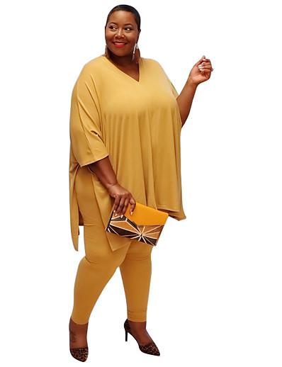 Недорогие Женские комбинезоны больших размеров-Жен. Сплошной цвет Полотняное плетение Набор из двух предметов Брюки Футболка Верхушки
