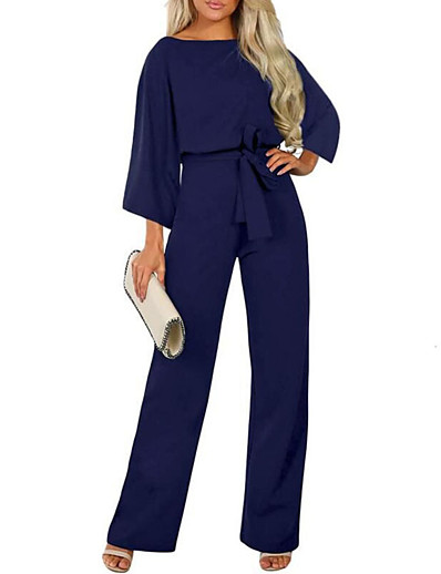 cheap Jumpsuits & Rompers-Women's Ordinary Black Khaki Navy Blue Jumpsuit Solid Colored Patchwork
