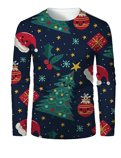 cheap NEW IN-Men's 3D Graphic T-shirt Print Long Sleeve Christmas Tops Round Neck Dusty Blue