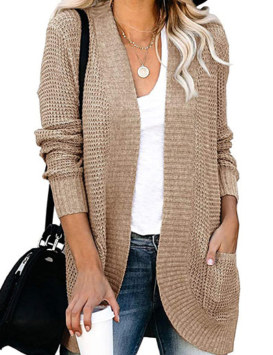 cheap Sweaters & Cardigans-Women's Vintage Style Braided Solid Color Cardigan Long Sleeve Sweater Cardigans V Neck Fall Winter White Black Wine