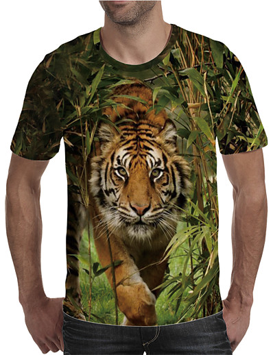 cheap Men's 3D-Men's T shirt Shirt 3D Print Graphic Animal Plus Size Print Short Sleeve Daily Tops Elegant Exaggerated Round Neck Green