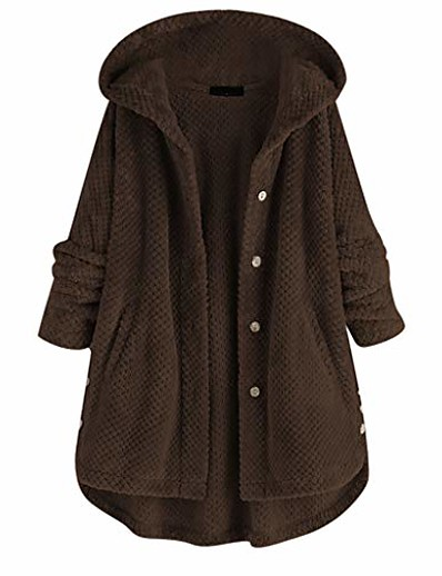 cheap Plus Size Outerwear-women fleece hooded button/zipper jacket plus size warm fuzzy coats fluffy sweatshirt two pockets oversized outwear(xxx-large,coffee)