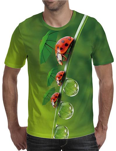 cheap Men's 3D-Men's T shirt 3D Print Graphic Plus Size Print Short Sleeve Daily Tops Elegant Exaggerated Green