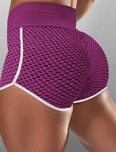 cheap Running, Jogging & Walking-Women's Compression Shorts Running Tight Shorts Street Bottoms with White Trim Fitness Gym Workout Running Jogging Training Breathable Quick Dry Soft Sport Solid Colored Black Blushing Pink Wine Blue