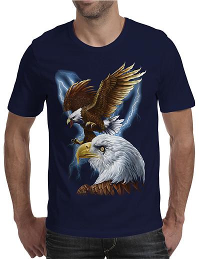 cheap Men's 3D-Men's T shirt 3D Print Graphic Animal Plus Size Print Short Sleeve Daily Tops Elegant Exaggerated Navy Blue