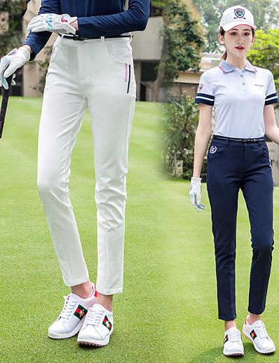 cheap Golf, Badminton & Table Tennis-Women's Golf Pants / Trousers Breathable Fast Dry Soft Sports Outdoor Autumn / Fall Spring Winter Stripes White Light Blue / Stretchy