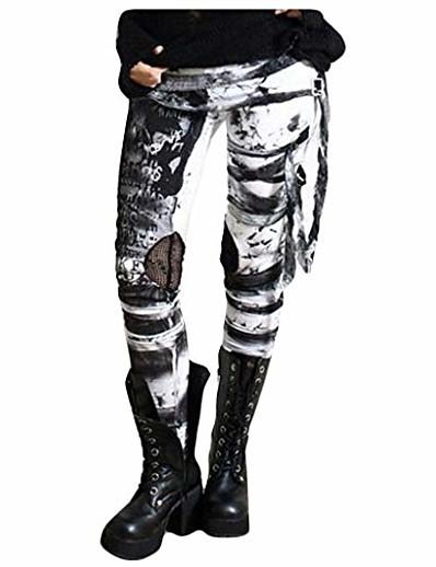 abordables Leggings-pantalon cool ultra froncé pour femme gothique rocker en détresse punk cravate leggings gris