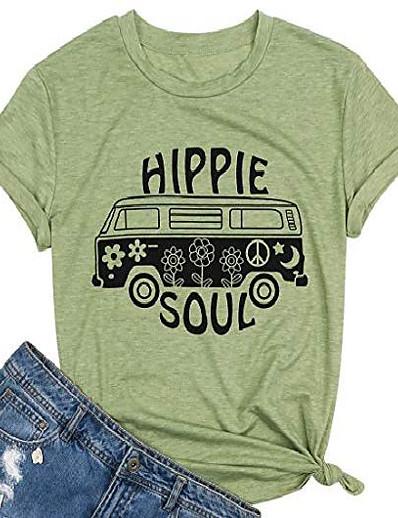 abordables Tee-shirts pour Femme-hippie soul chemise femmes hippy bus t-shirt graphique hippie musique tees été à manches courtes tops vêtements (vert-1, l)