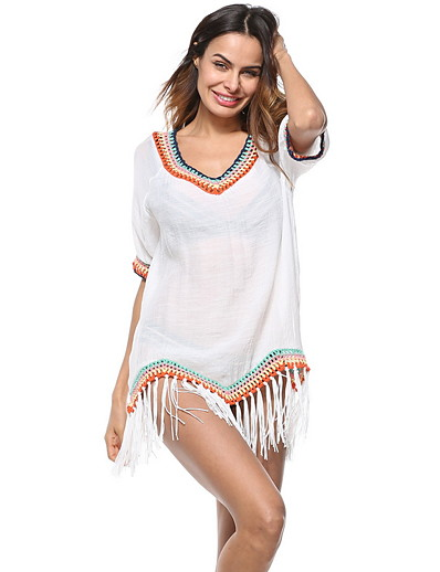 cheap Cover Ups-Women's Casual / Sporty Fashion Sexy Swimsuit Tassel Fringe Asymetric Hem Color Block Swimwear Bathing Suits White Black
