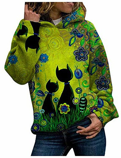 cheap Hoodies & Sweatshirts-cat print casual pullover shirts for women hoodie sweatshirts yellow 5xl