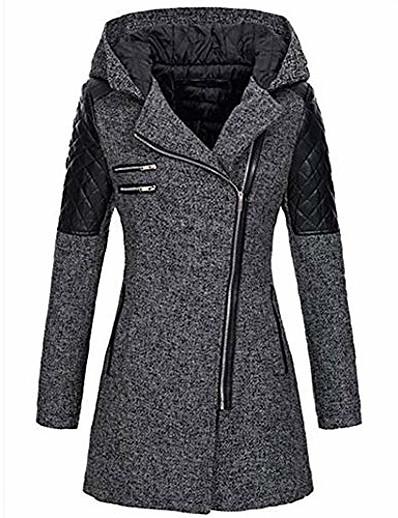 cheap Blazers-women's warm long sleeves oblique zipper neck splice geometric pattern fleece pullover outwear hooded zipper coat gray