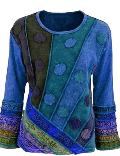 cheap NEW IN-Women's Plus Size Tunic Color Block Long Sleeve Patchwork Print Round Neck Tops Basic Basic Top Blue Purple Blushing Pink