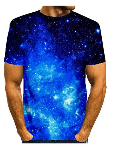 cheap Men's 3D-Men's T shirt Shirt 3D Print Graphic 3D Print Short Sleeve Daily Tops Round Neck Blue
