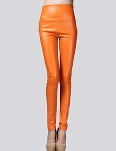cheap Women's Bottoms-women faux leather high waist leggings skinny pencil pants thin thin-gold (fba) l = us m