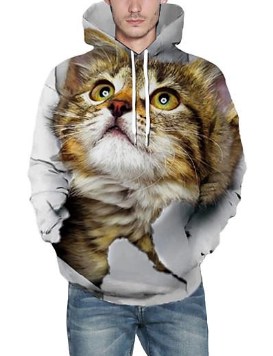 cheap Men's 3D-Men's Pullover Hoodie Sweatshirt Cat Graphic 3D Front Pocket Hooded Daily 3D Print 3D Print Hoodies Sweatshirts  Long Sleeve Yellow