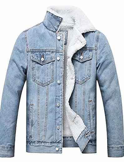 cheap Men's Outerwear-men's fleece jean jacket winter cotton sherpa lined denim trucker jacket(light blue, xl)
