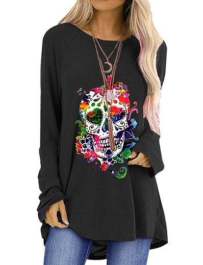 cheap Tees & T Shirts-Women's Halloween T-shirt Graphic Prints Long Sleeve Round Neck Tops Halloween Basic Top Black Blue Red