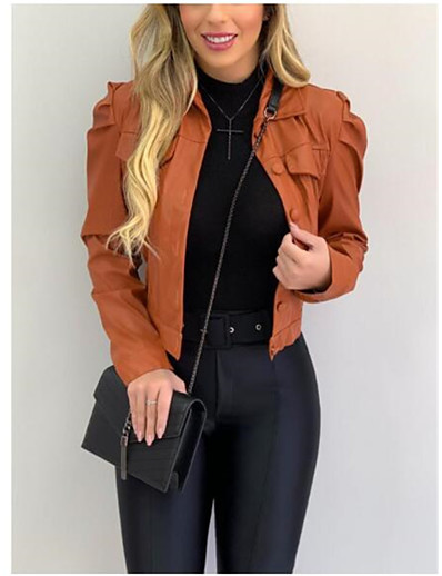 cheap NEW IN-Women's Single Breasted Faux Leather Jacket Short Solid Colored Going out Black Wine Army Green Orange S M L XL