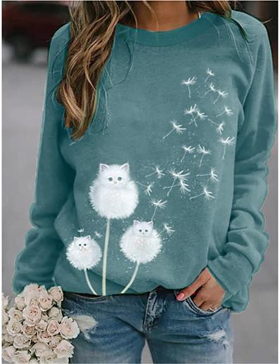 cheap Hoodies & Sweatshirts-Women's Hoodie Sweatshirt Graphic Dandelion Daily Casual Hoodies Sweatshirts  Loose Blue