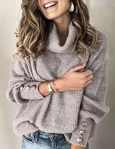 cheap Sweaters & Cardigans-Women's Basic Knitted Button Solid Color Pullover Long Sleeve Sweater Cardigans Turtleneck Fall Winter White Black Blue