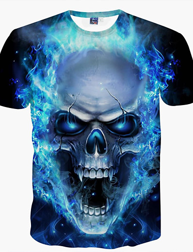 cheap Men's Tops-Men's Graphic Skull T shirt Print Short Sleeve Daily Tops Basic Round Neck Blue / Summer / Club