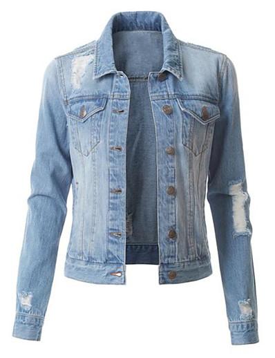 cheap Outerwear-Women's Denim Jacket Solid Colored Fall & Winter Regular Sports Long Sleeve Denim Coat Tops Blue