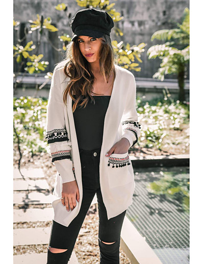 cheap NEW IN-Women's Knitted Camouflage Cardigan Long Sleeve Sweater Cardigans V Neck Fall Winter White Black Blushing Pink