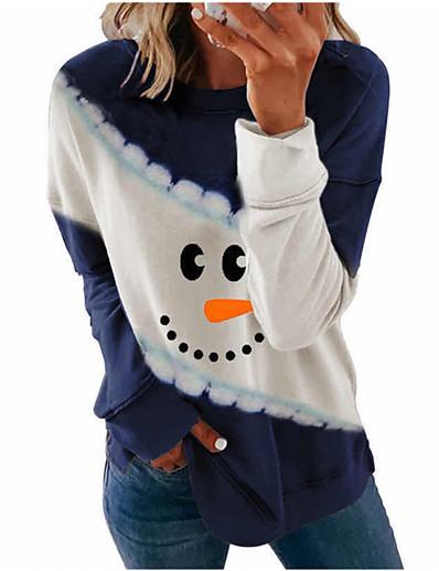 preiswerte Bluse-Damen Weihnachten Bluse Grafik-Drucke Langarm Druck Rundhalsausschnitt Oberteile Weihnachten Basic Top Schwarz Blau Purpur