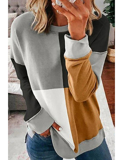 cheap Sweaters & Cardigans-Women's Stylish Knitted Color Block Pullover Acrylic Fibers Long Sleeve Sweater Cardigans Crew Neck Fall Winter Gray