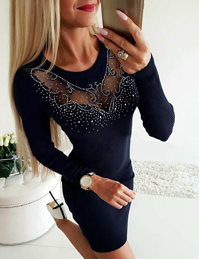 cheap Mini Dresses-Women's Sheath Dress Short Mini Dress - Long Sleeve Solid Color Sequins Mesh Patchwork Fall Casual 2020 Navy Blue Gray S M L XL
