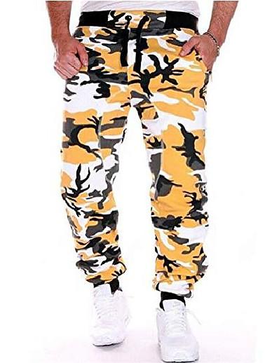 cheap Men's Bottoms-men's jogging pants casual training pants camouflage pants sweatpants.elastic waist design