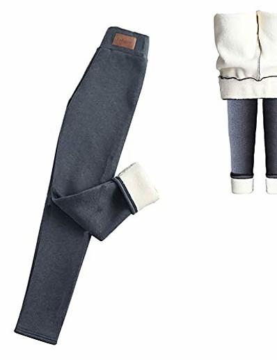 abordables Leggings-femmes chaudes doublées de polaire pantalon d'hiver élastique taille haute pantalons de survêtement pantalons leggings d'hiver (m) gris