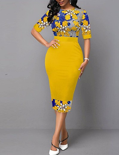 cheap Midi Dresses-Women's Shift Dress Midi Dress Yellow Half Sleeve Print Fall Spring Work Elegant 2021 S M L XL XXL
