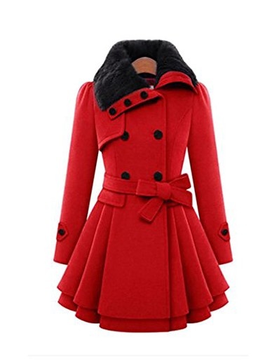 cheap Outerwear-women lapel double-breasted thick wool coat bowknot belt jacket outwear (red, m)