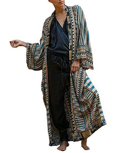 abordables Couverts-femmes maillot de bain imprimé géométrique cover ups pour maillot de bain cardigan kimono de plage à manches longues