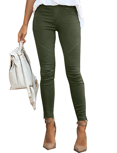 cheap Women's Bottoms-womens casual leggings moto jeggings ankle zipper skinny pleated stretch pencil pants with pockets green small