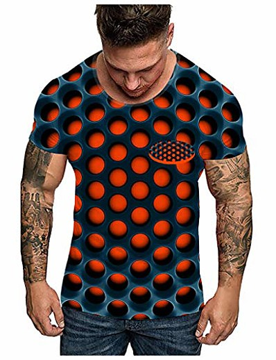 abordables Hommes 3D-Unisxe vertiges t-shirts drôles top hommes mode impression 3d o-cou à manches courtes t-shirt orange