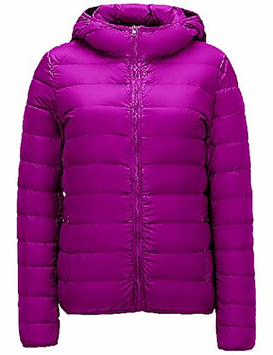 cheap Down& Parkas-women's packable ultra weight hooded down coat quilted padded jacket (medium, purple)
