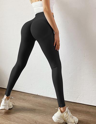 abordables Leggings-Femme Sportif Confort Slim Gymnastique Yoga Leggings Joggings Pantalon Couleur Pleine Cheville Taille haute Blanche Bleu Rouge Jaune Rose Claire