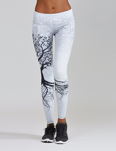 cheap Bottoms-Women's Sporty Comfort Skinny Gym Yoga Leggings Pants Plants Ankle-Length Patchwork Print High Waist White Black