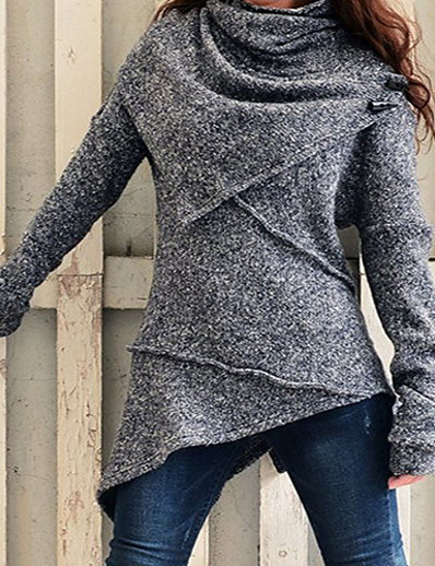cheap 11/18/2020-Women's Knitted Solid Color Pullover Long Sleeve Sweater Cardigans Turtleneck Fall Winter Black Blue Red