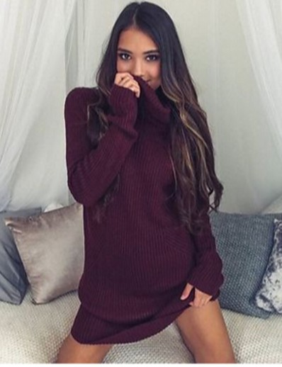 cheap Mini Dresses-Women's Sweater Jumper Dress Short Mini Dress - Long Sleeve Solid Color Patchwork Fall Sexy Cotton 2020 White Black Wine Gray S M L XL