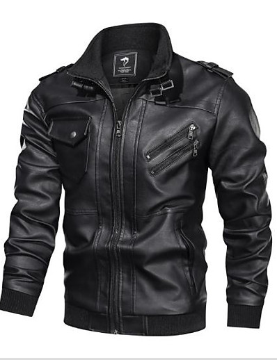 cheap Outerwear-Men's Casual / Daily Going out Coat Tops Black