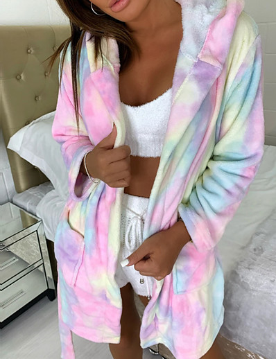 cheap Pajamas-Women's Lace up Robes Nightwear Leopard Solid Colored Black / Rainbow / Gray S M L